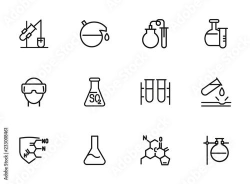 Scientific experiment icon. Set of line icon on white