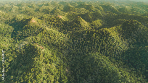 greens capped hills aerial