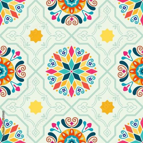 https stock adobe com images seamless vector modern moorish geometric spanish moroccan ceramic floor tile shapes in mint green pink orange yellow 237261660 start checkout 1 content id 237261660