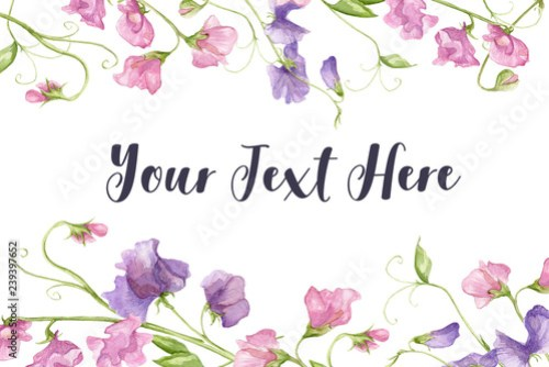 Fl Watercolour Wedding Invitation Card Flower Framed