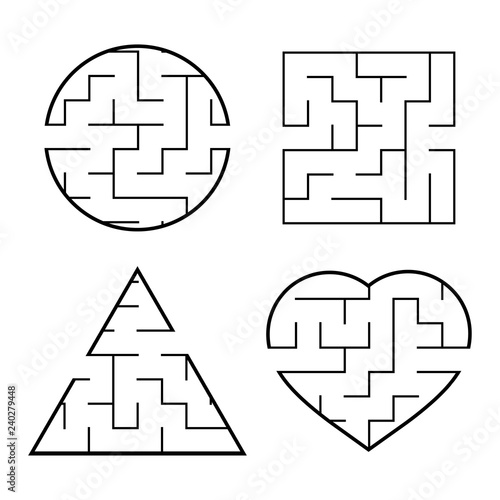 A Set Of Easy Mazes Circle Square Triangle Heart Game For Kids Puzzle For Children One Entrances One Exit Labyrinth Conundrum Flat Vector Illustration Isolated On White Background Buy This Stock