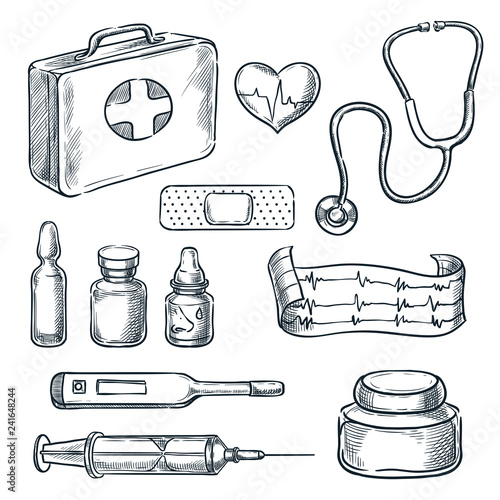 First aid kit vector sketch illustration. Medicine and