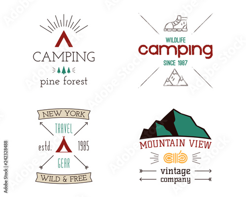mountain camping logos set