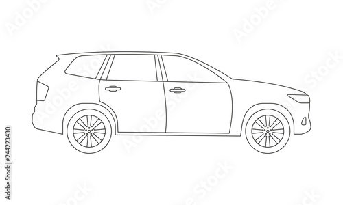 SUV car outline icon. Side view. Crossover utility vehicle
