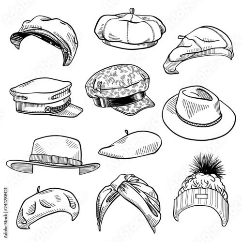 Set of 11 fashion women's hats sketches: turban hat, knit