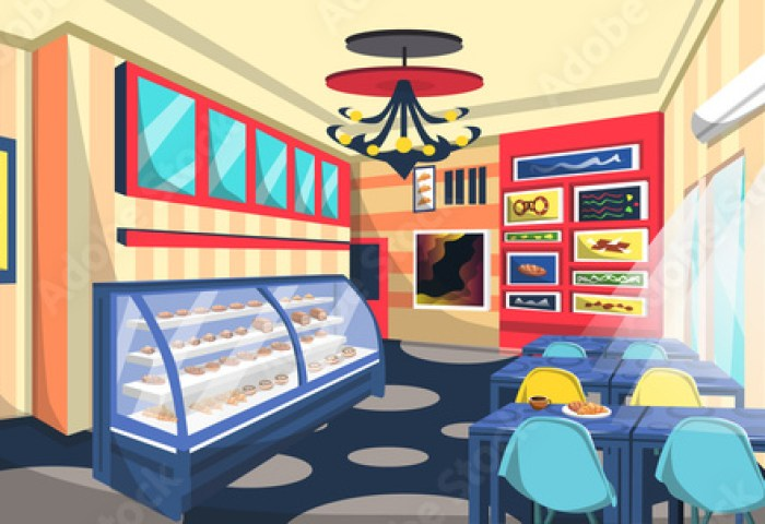 Clean Bakery Shop Room With Cake On Etalase Ceiling Lamps Blue