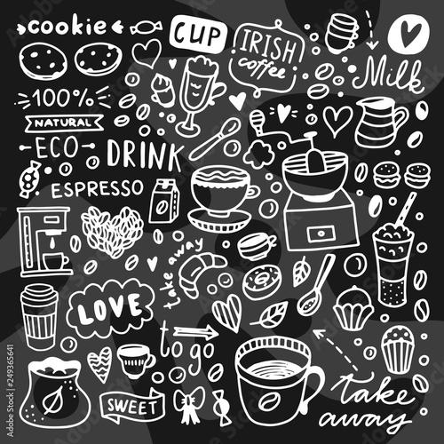coffee doodles vector graphics