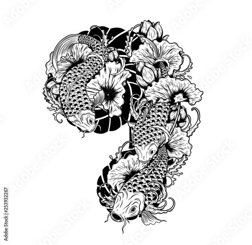 Koi Fish With Lotus Flower Drawing