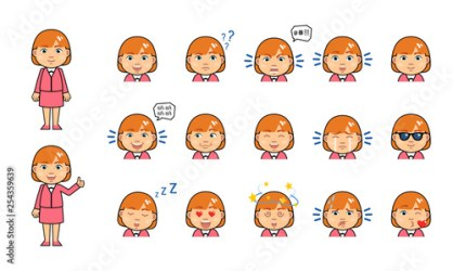 Set of chibi woman emoticons Kawaii businesswoman emojis showing diverse facial expressions Surprised serious tired dazed in love happy sad and other emotions Simple vector illustration Buy this stock vector and