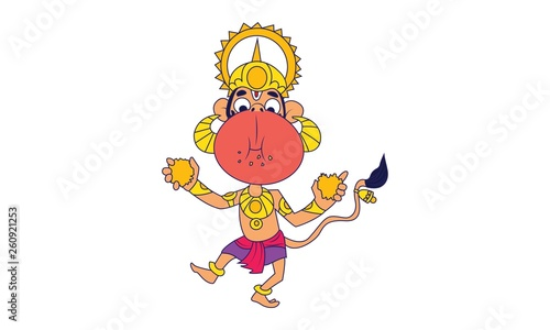 Vector Cartoon Illustration Of Lord Hanuman Eating Sweet Isolated On White Background Buy This Stock Vector And Explore Similar Vectors At Adobe Stock Adobe Stock