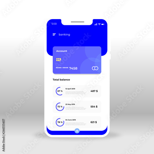 Blue Online Banking Ui Ux Gui Screen For Mobile Apps Design Modern Responsive User Interface Design Of Mobile Applications Including Bank Account Screen Blue Card Total Balance Buy This Stock Vector
