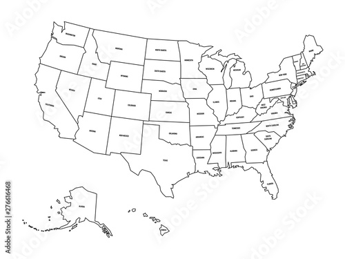 Political map of United States od America, USA. Simple