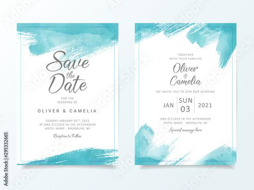 blue brush stroke wedding invitation