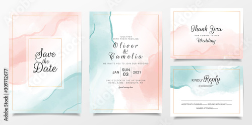peach and blue watercolor wedding