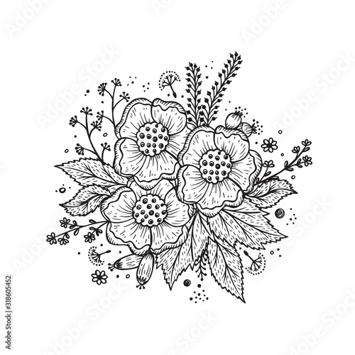 black and white flower garland template