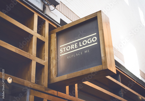Out and use at company events, conferences, conventions, or signage ads. Store Brand Sign Mockup 4 Stock Template Adobe Stock