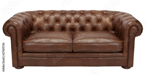 modern brown leather sofa in front of sliding door image a over white background buy