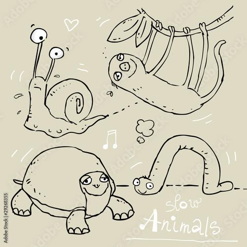 funny animals doodle sketchy