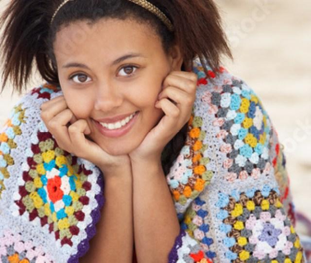 Portrait Teenage Girl On Beach
