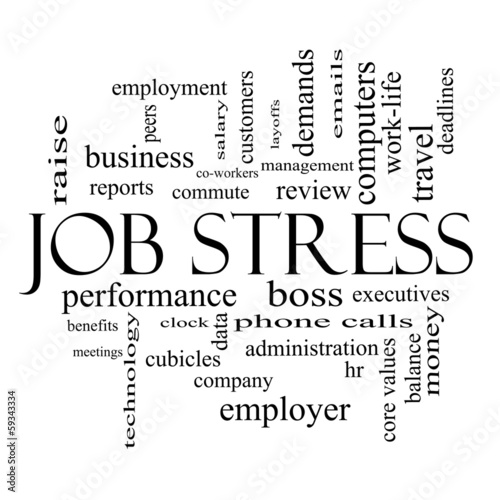 Job Stress Word Cloud Concept in black and white Stock