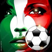Italy Flag Soccer Football Girl Portrait