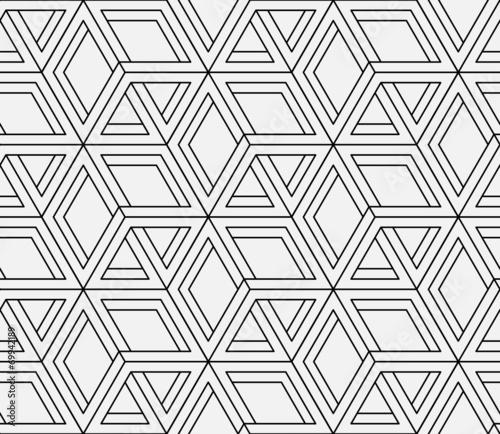 Seamless geometric pattern in op art design. Vector art