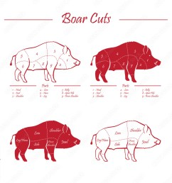photo art print boar meat cut diagram elements red on white europosters [ 1000 x 1000 Pixel ]