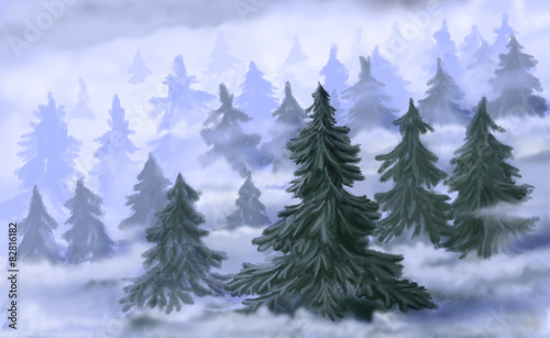 Another type, temperate coniferous forests, grows in lower latitudes of north america, europe, and asia, in the high elevations of mountains. Coniferous Forest In Fog Digital Drawing Stock Illustration Adobe Stock