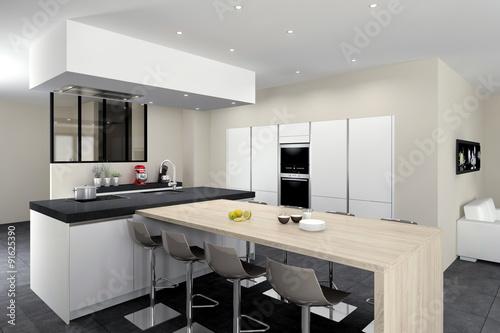 cuisine 08 blanc mat ilot avec table