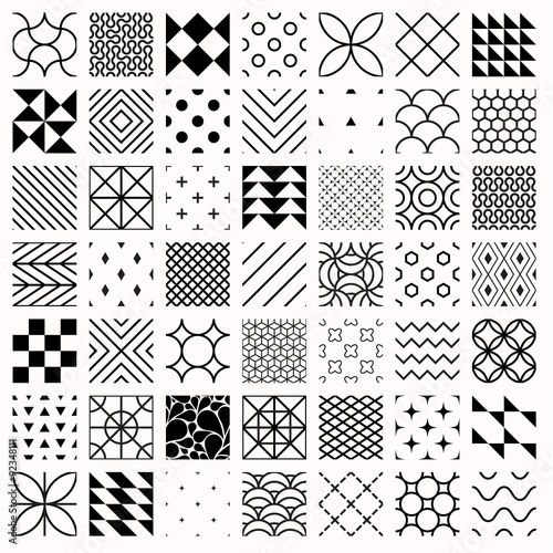 Set of geometric seamless patterns, triangles, lines