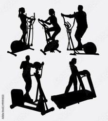 Male and female fitness gymnastic athletic sport silhouette Good use for symbol logo web icon game elements mascot or any design you want Easy to use Buy this stock vector and