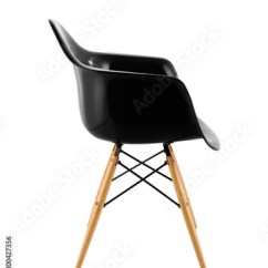 Black Plastic Chair With Wooden Legs Mini Eames Shiny On White Background Side View