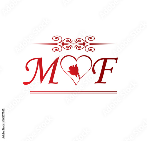 mf love initial with red heart and rose