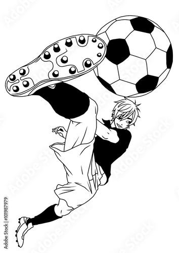 Football soccer player kicking the ball,illustration,logo