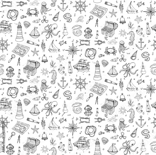 Seamless background hand drawn doodle Boat and Sea icons