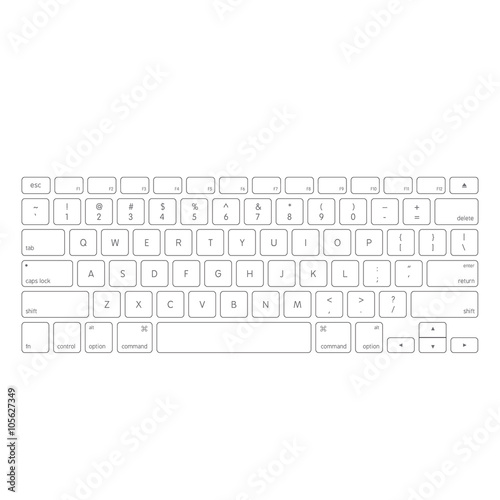 White computer keyboard button layout template with