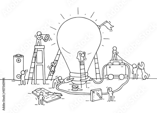 Sketch of lamp idea construction with working people