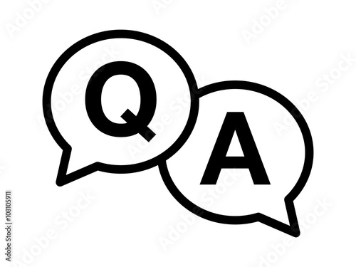 Questions and answers or Q&A speech bubbles Line art icon