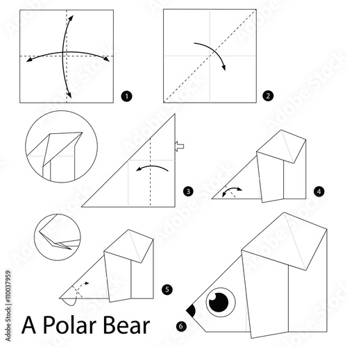 Step by step instructions how to make origami A Polar Bear
