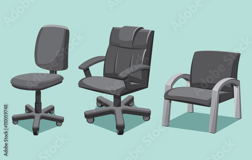 office chair illustration black cushions collection types cartoon isolated vector