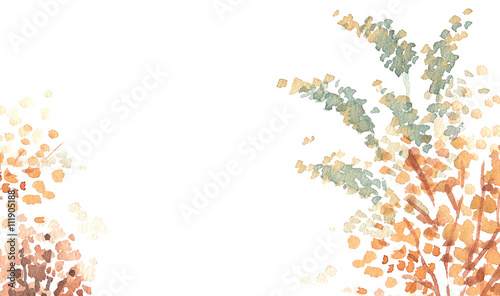 Fall Leaves Watercolor Wallpaper Autumn Red Leaves Watercolour Background Copy Space Buy