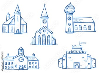Set of different buildings churches school town hall castle Hand drawn cartoon vector illustration Buy this stock vector and explore similar vectors at Adobe Stock Adobe Stock