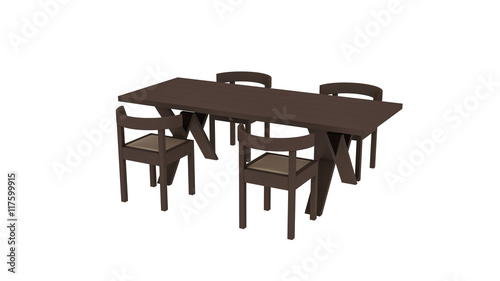 four chairs furniture ninja turtle chair toys r us wooden table with isolated on white background 3d illustration