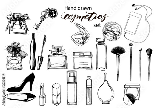 Hand drawn collection of make up and cosmetics. Vector