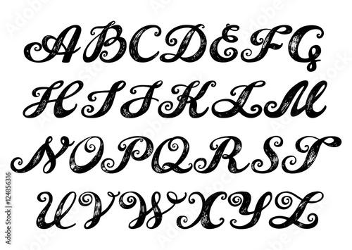 Calligraphy alphabet typeset lettering. Hand drawn