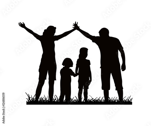 silhouette family father mother