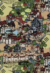 Medieval village town drawing coloured Buy this stock photo and explore similar images at Adobe Stock Adobe Stock