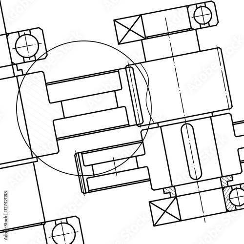 Mechanical Engineering drawing. Blueprints. Mechanics