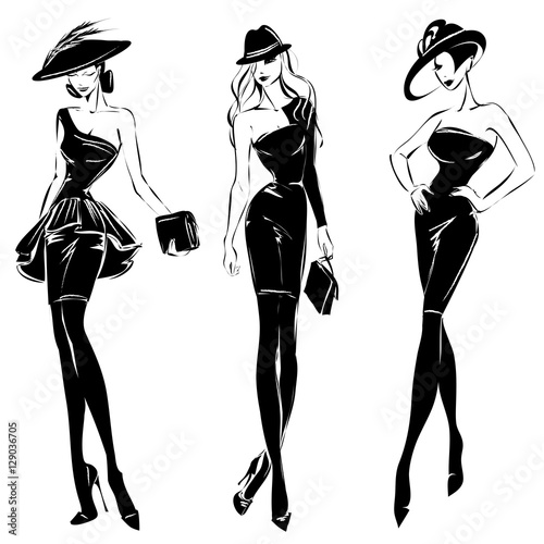 Black and white retro fashion models set in sketch style