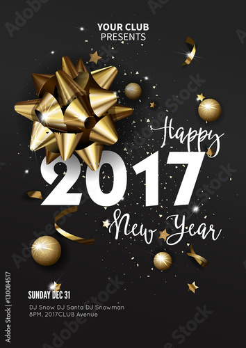 Happy New Year 2017 Greeting Card Or Poster Template Flyer